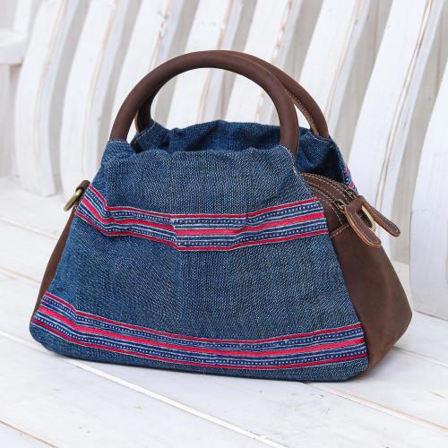 Leather and Cotton Handbag or Shoulder Bag 'Hmong Trails'