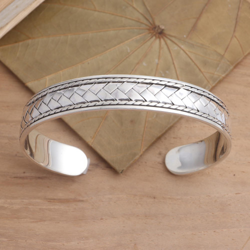 Basketweave Oxidized Sterling Silver Cuff Bracelet 'Woven Dreams'