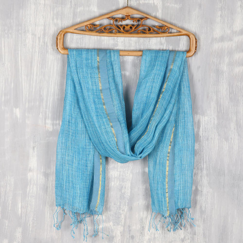 Cyan and White All-Linen Shawl from India 'Timeless Charm in Cyan'