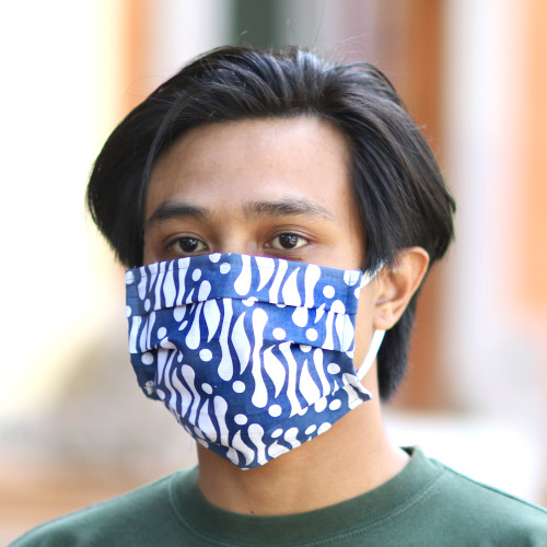 3 Blue and White Cotton Batik Pleated 2-Layer Face Masks 'Balinese Blue'