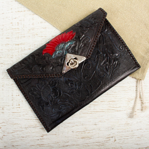 Black Hand Tooled Leather Clutch from Mexico 'Midnight Bloom'