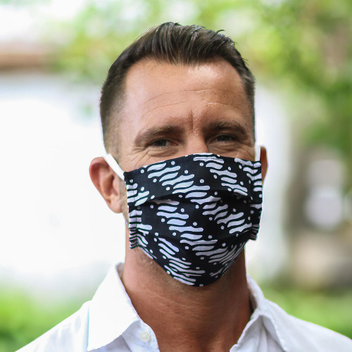 3 Black and White Cotton Pleated 2-Layer Face Masks 'Bold Black and White'