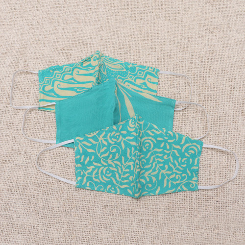 Rayon Batik Face Masks with Two Layers Set of 3 'Turquoise Tendrils'