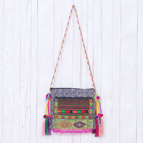 Hmong Cotton Shoulder Bag with Zippered Patch Pocket 'Party Hmong'