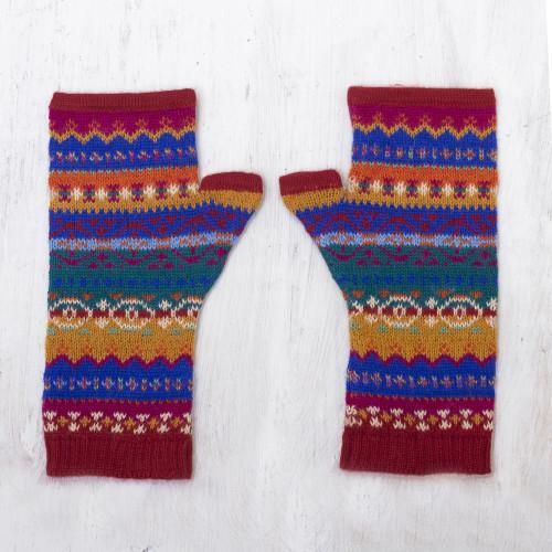 Fingerless Mitts Knit from Multicolored Alpaca Wool 'Sierra Rainbow'