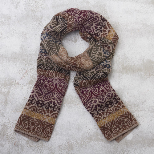 Earthtoned 100 Alpaca Wool Scarf 'Cusco Earth'