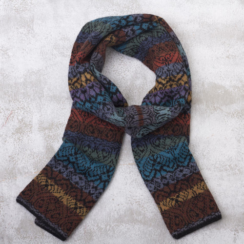 Muted Multicolor Alpaca Knit Scarf from Peru 'Cusco Cathedral'