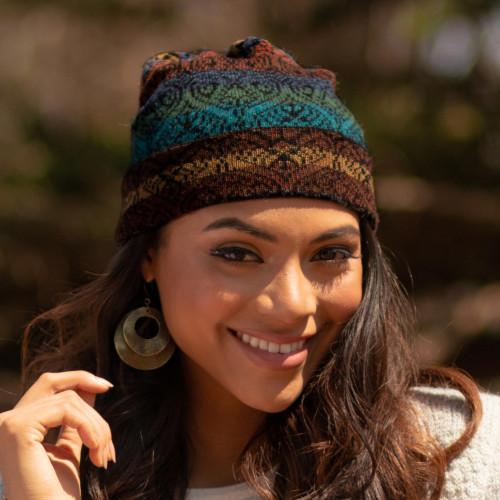 Women's Alpaca Knit Hat in Multicolor 'Cusco Cathedral'