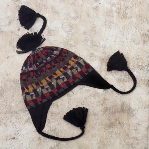 Geometric Earthtoned Alpaca Wool Chullo Hat 'Andean Geometry'