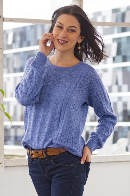 Heather Blue Baby Alpaca Blend Sweater 'Distinction in Blue'