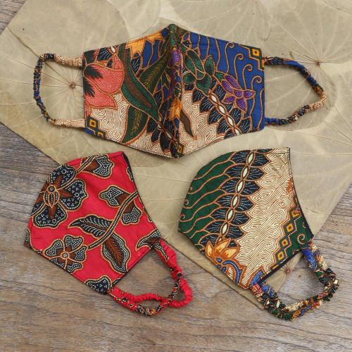 Two Layer Cotton Face Masks Set of 3 'Vintage Batik'