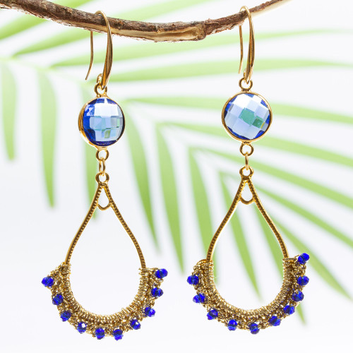 Gold Plated Brass and Crystal Bead Earrings 'Gold and Blue'