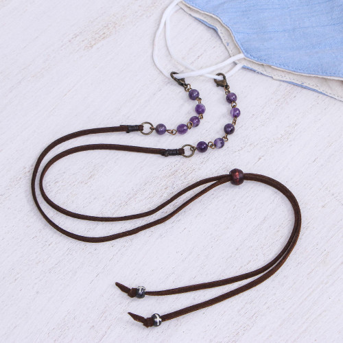 Faux Brown Suede Face Mask Lanyard with Amethyst 'Smart Style in Purple'