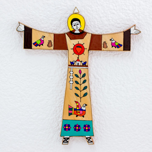 Hand Crafted Religious Wood Wall Art 'Saint Francis'