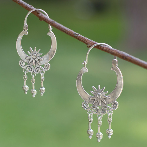 Hand Crafted Sterling Silver Hoop Earrings 'Days of Sun'