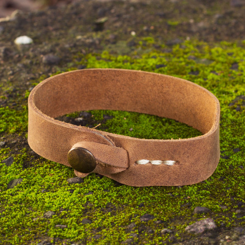 Men's Leather Wristband Bracelet from Mexico 'Quality'