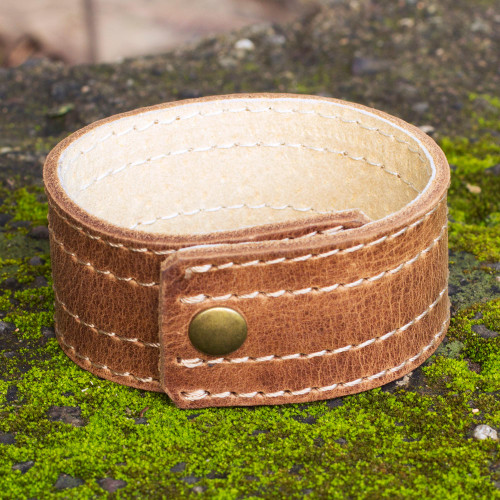 Men's Hand Made Leather Wristband Bracelet 'Dexterity'