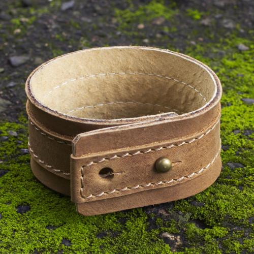 Men's Leather Wristband Bracelet 'Desert Sands'