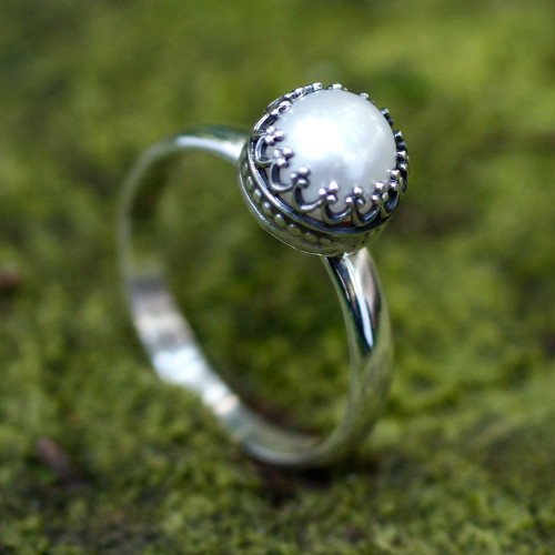Hand Made Fine Silver Single Stone Pearl Ring 'Taxco Royalty'