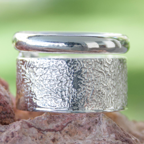 Unique Modern Sterling Silver Band Ring from Mexico 'Taxco Melody'