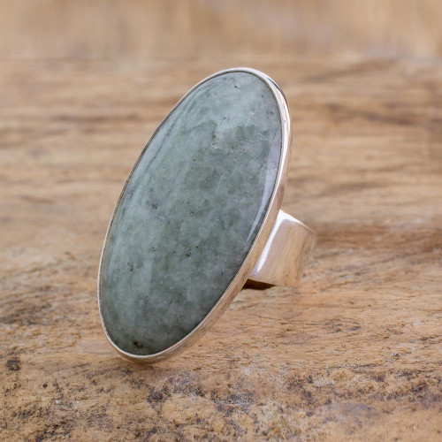 Sterling Silver Jade Cocktail Ring 'Sixth Star'