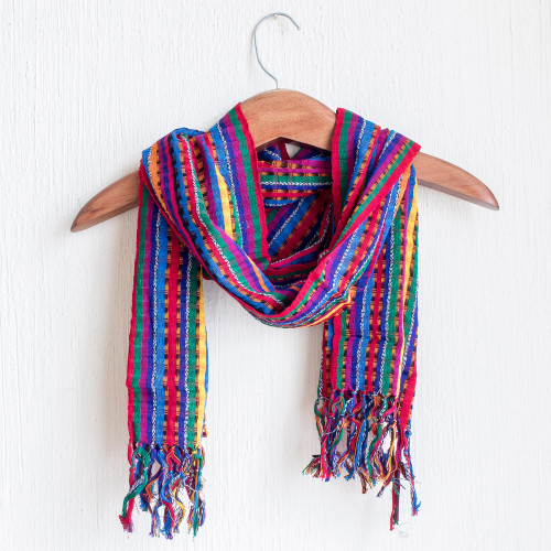 Guatemalan Hand Woven Cotton Scarf in Primary Colors 'Valley of Flowers'