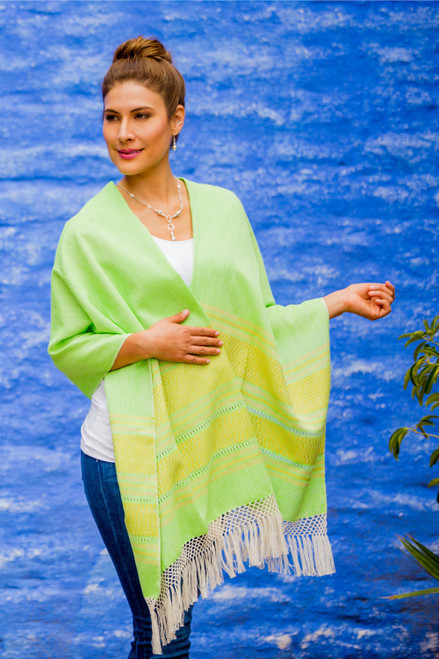 Handwoven Bright Green and Yellow Cotton Zapotec Shawl 'Golden Meadow'