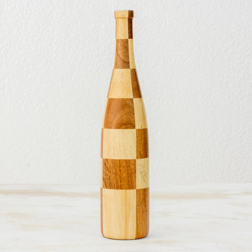 Artisan Crafted Mahogany and Palo Blanco Decorative Bottle 'Natural Chess'