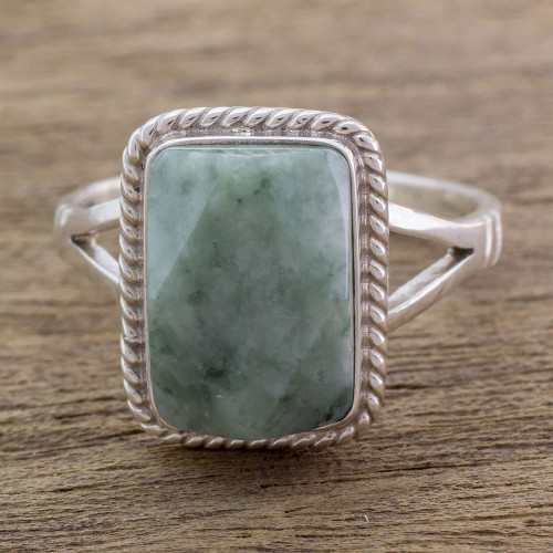Guatemala Handcrafted Sterling Silver and Faceted Jade Ring 'Green Nuances'