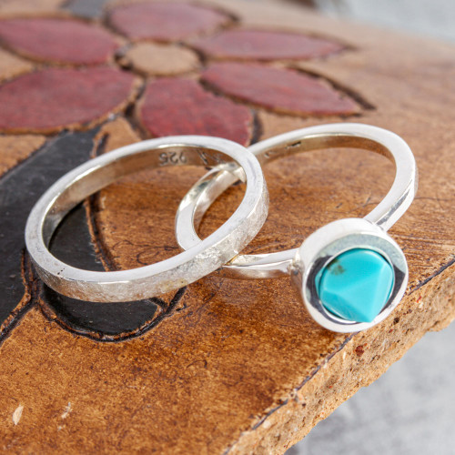 Handcrafted Taxco Silver Turquoise Stacking Rings Pair 'Sky Glow'