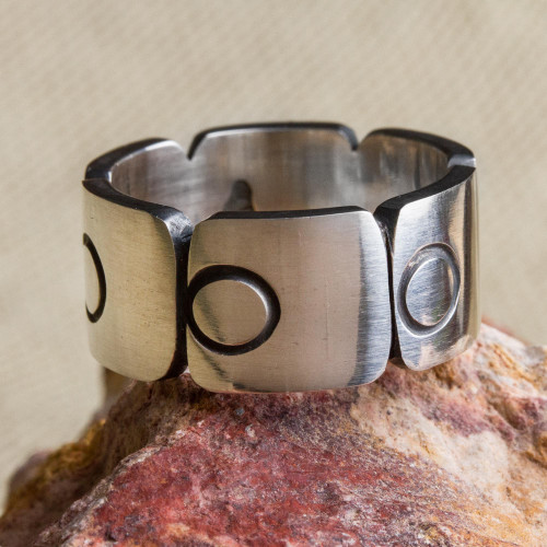 Sterling Silver Band Ring with Square Circle Motifs Mexico 'Aztec Squares'