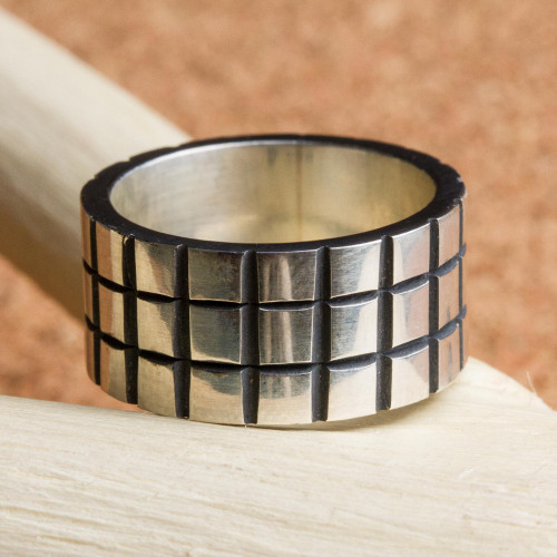 Sterling Silver Band Ring with Square Motifs Mexico 'Square Mesh'