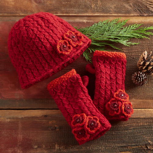 Nepali Rhododendron Knit Hat and Gloves 'Nepali Rhododendron'