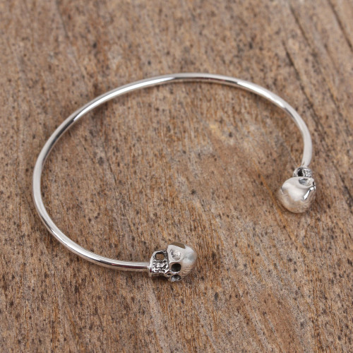 Sterling Silver Cuff Bracelet with Skulls from Mexico 'Skulls of Tradition'