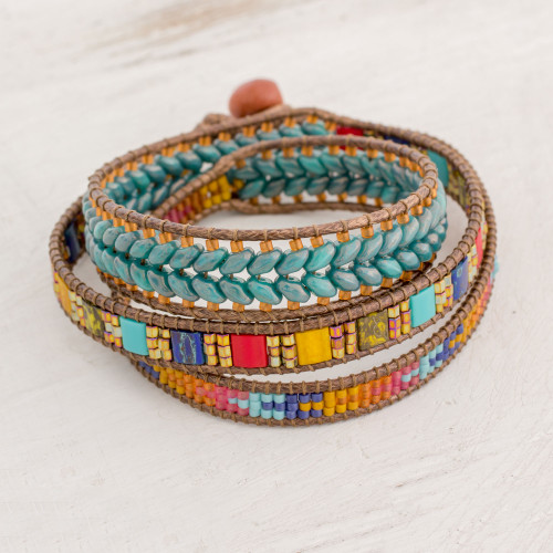 Multicolored Glass Beaded Wrap Bracelet from Guatemala 'Country Market'
