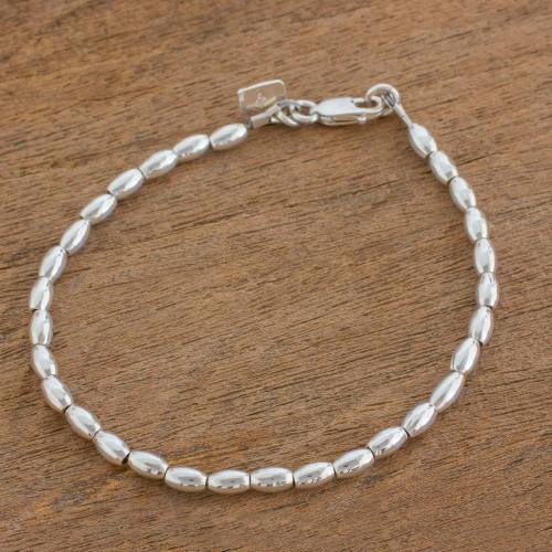 Elegant Sterling Silver Beaded Bracelet from Guatemala 'Peaceful Gleam'