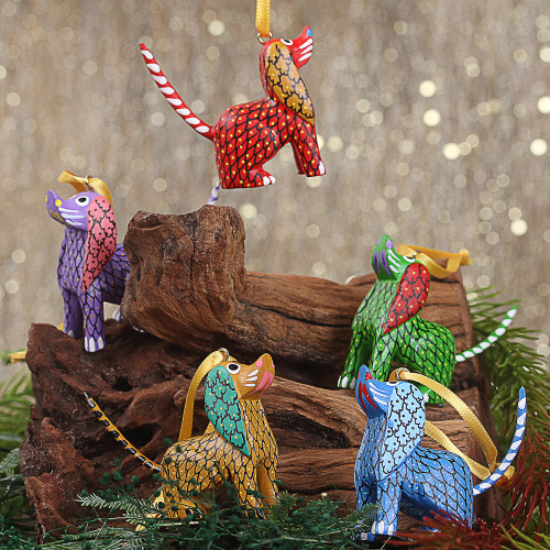 Painted Wood Alebrije Dog Ornaments Set of 5 from Mexico 'Sweet Puppies'