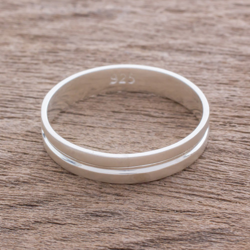 Artisan Crafted Sterling Silver Band Ring from Guatemala 'Eternal Elegance'