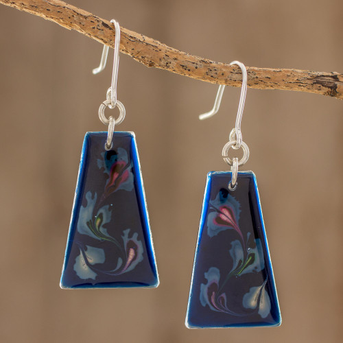 Blue Trapezoid Art Glass Dangle Earrings from Costa Rica 'Deep Sea Currents'