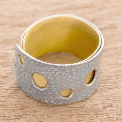 Aluminum and Brass Modern Band Ring from Guatemala 'Glimmering Circles'