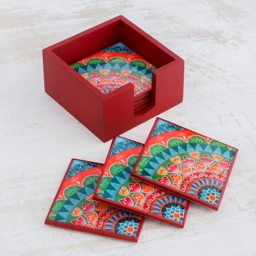 Six Handcrafted Wood Coasters in Red from Costa Rica 'Home Delicacies'