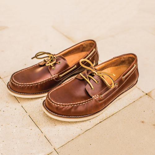 Men's Brown Oiled Leather Boat Shoe 'Deck Days'