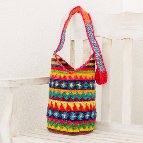 Crocheted Geometric Motif Cotton Bucket Bag from Guatemala 'Multicolored Geometry'