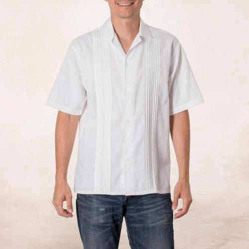 White Men's Cotton Guayabera Shirt from El Salvador 'Salvadoran Beaches'