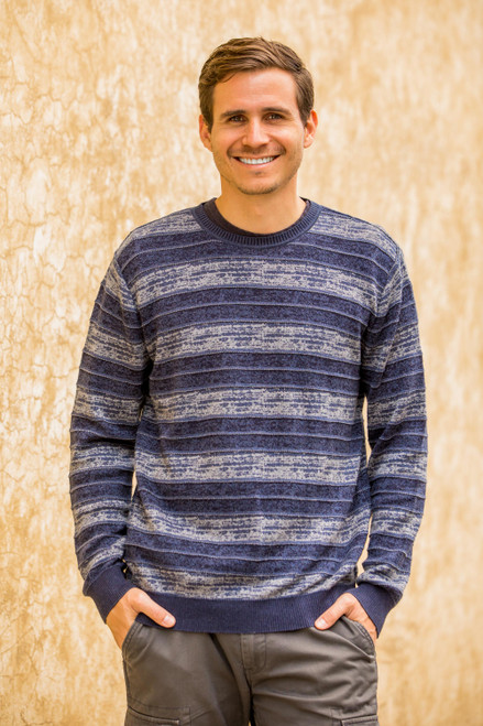 Men's Blue Pima Cotton Crewneck Sweater 'Laguna'