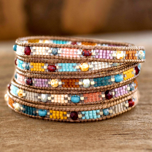 Colorful Glass Beaded Wrap Bracelet from Guatemala 'Colorful Festival'