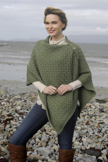Merino Wool Trellis-Stitch Convertible Cape from Ireland 'Aran Islands'