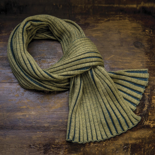 Accordion Knit 100 Wool Scarf from Ireland 'Meridian'