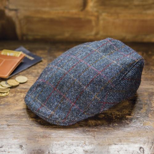 Men's Navy  Wool Windowpane Tweed Touring Cap 'Pride of Donegal'