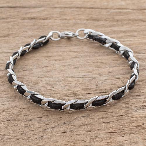Reclaimed Black Leather Stainless Steel Wristband Bracelet 'Midnight Power'